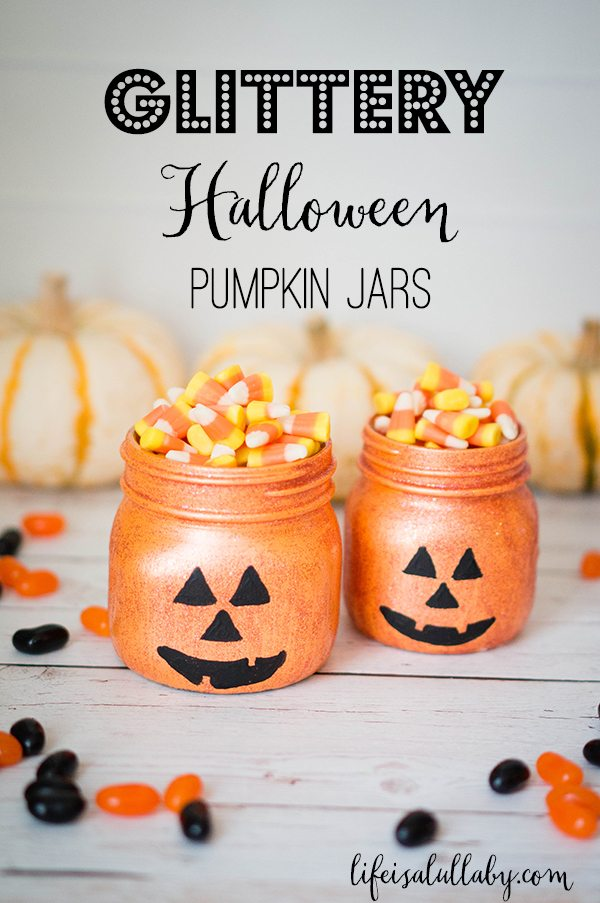 Glittery Halloween Jack-O-Lantern Pumpkin Jars