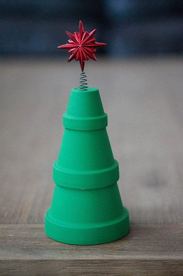 Flower Pot Christmas Tree Painted