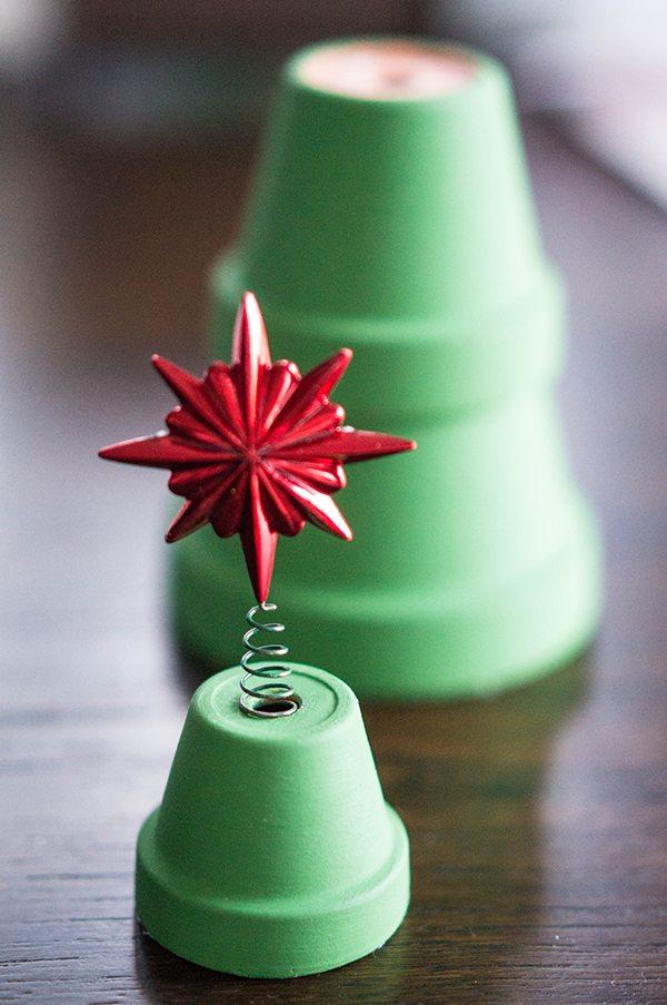Flower Pot Christmas Tree Star on Top
