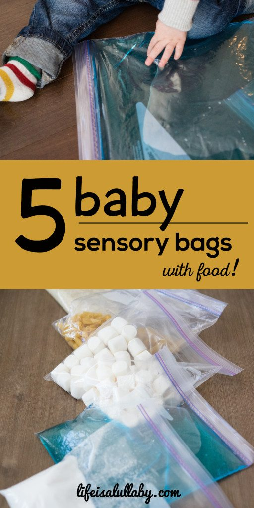 5 baby sensory bags with food