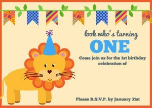 Lion First Birthday Invitation