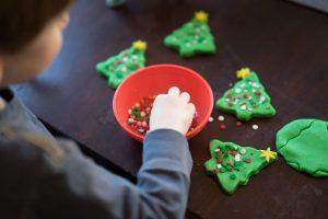 Making Playdough Christmas Trees
