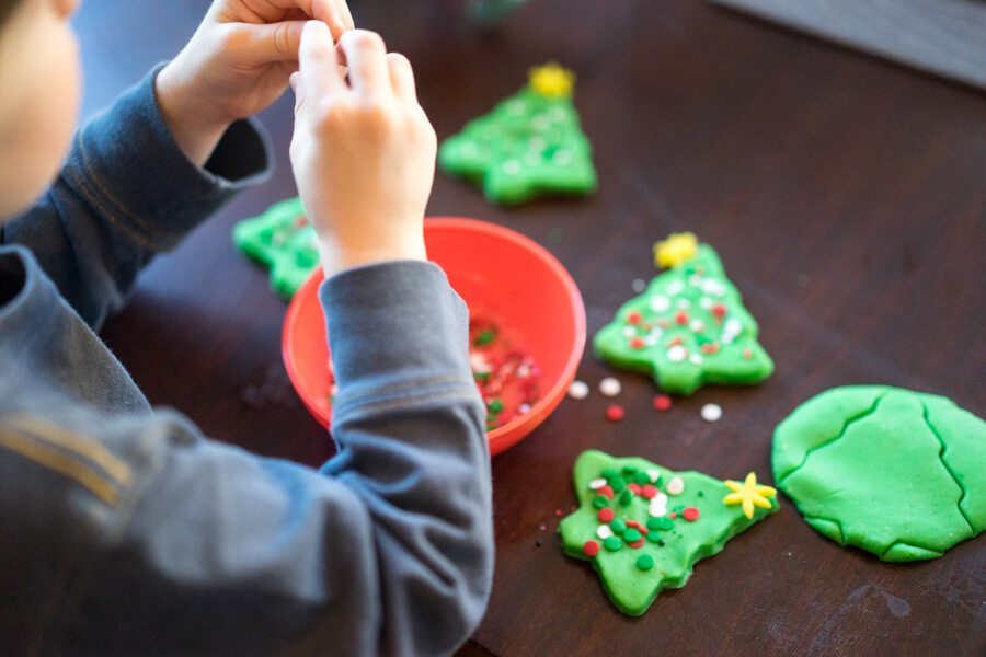 Making Playdough Christmas Trees