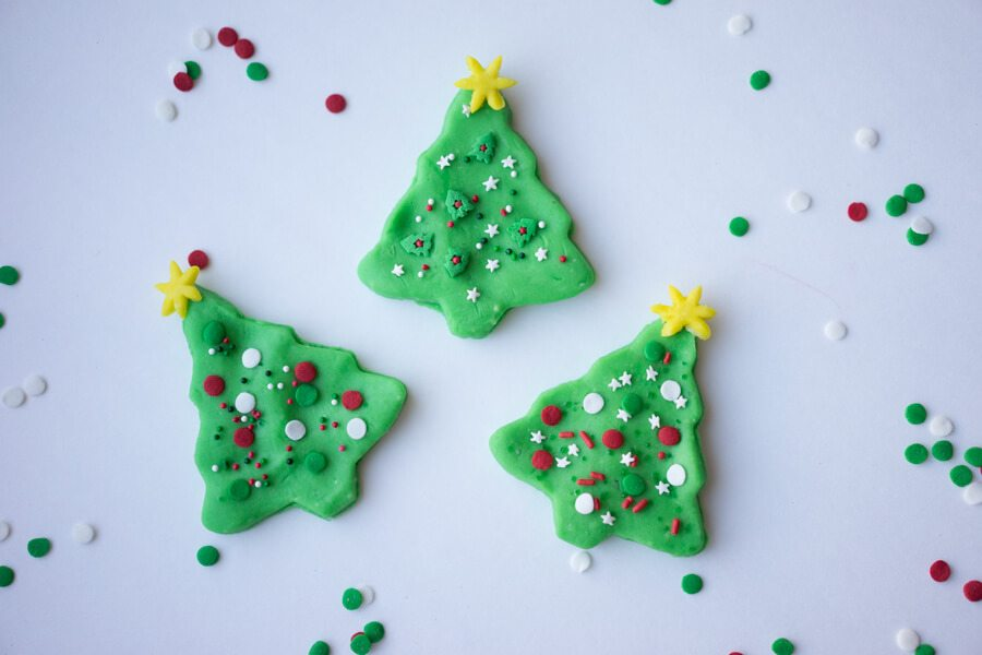 Playdough Christmas Trees with Sprinkles