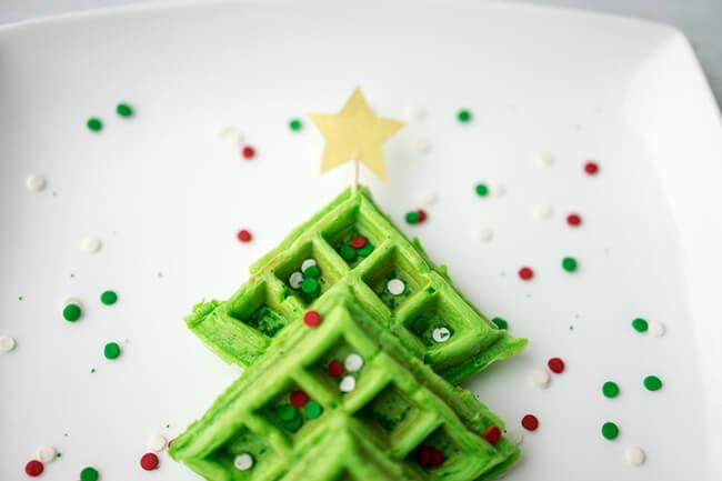 Christmas Breakfast Idea for Kids - Christmas Tree Waffles