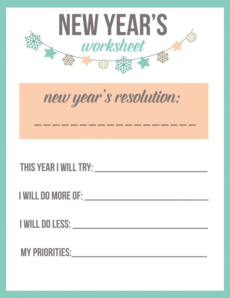 image regarding New Year Resolution Printable known as Refreshing Several years Solution Worksheet Printable - The Great Guidelines