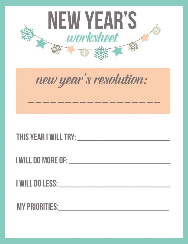 New Year's Resolution Worksheet Printable - The Best Ideas ...