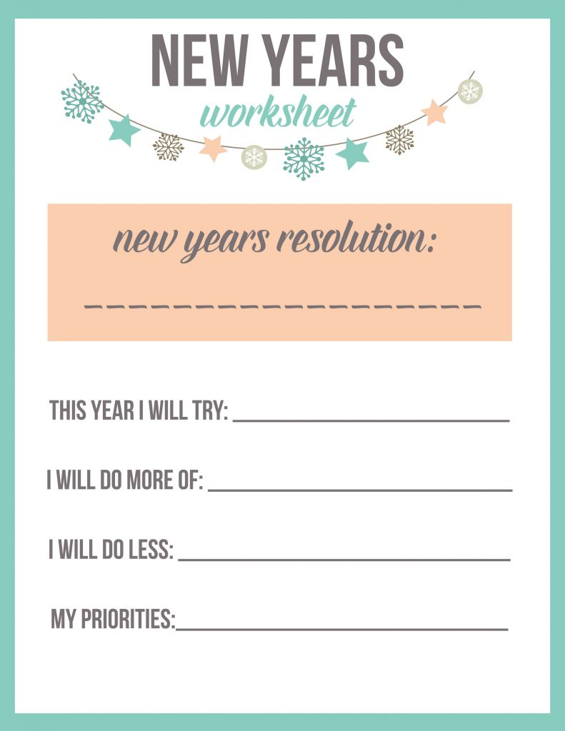 New Year's Resolution Worksheet Printable