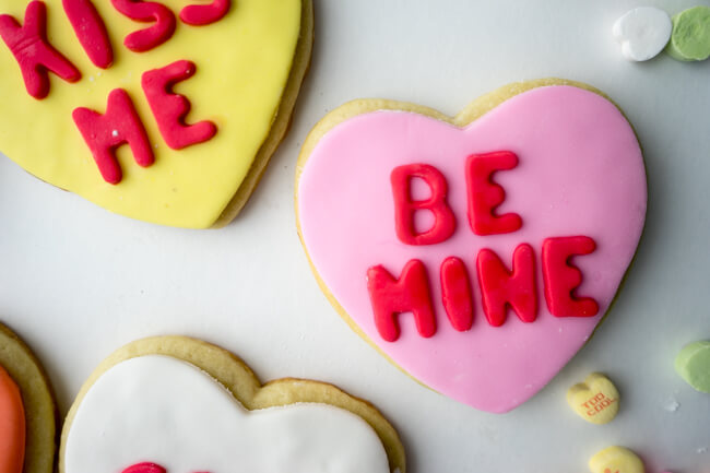 Be Mine Conversation Heart Cookies