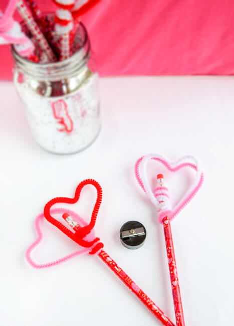 Easy Heart Pencil Toppers