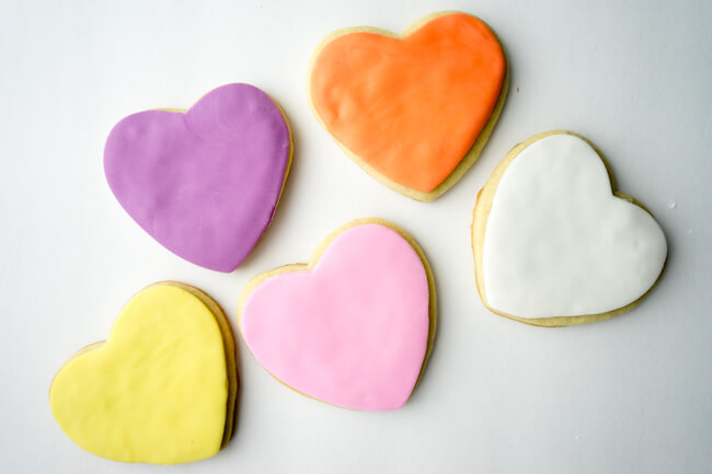 Fondant finished conversation heart cookies