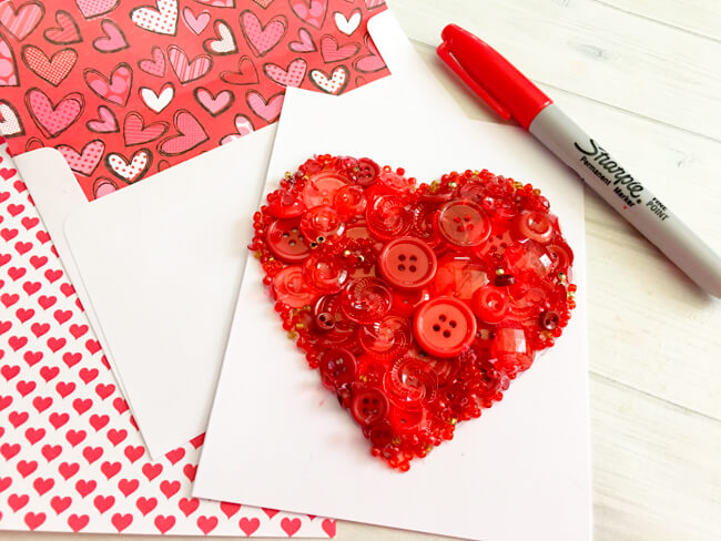 Heart Button Art Card DIY Tutorial