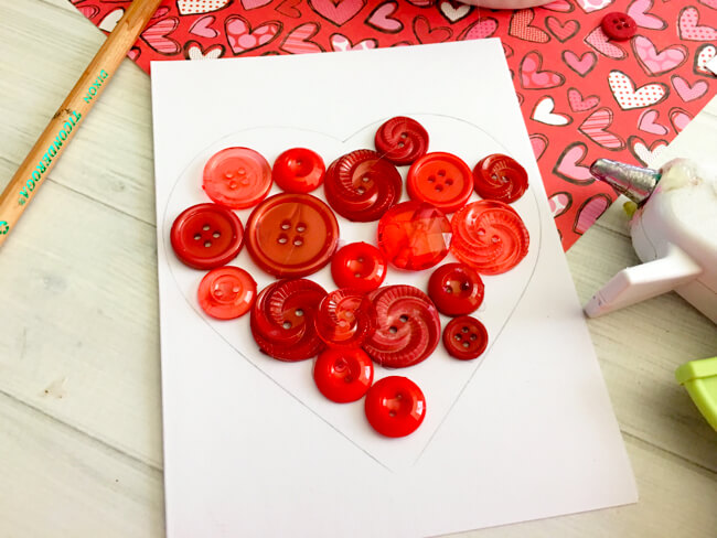 Heart Button Art Card Put Buttons Down