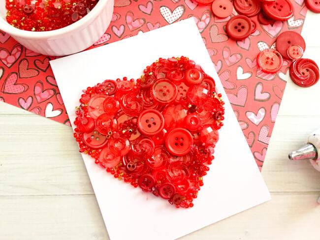 Heart Button Art Valentine's Day Card
