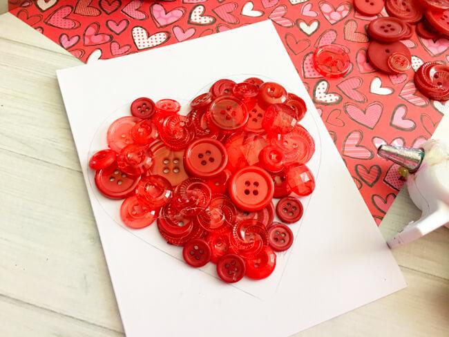 Heart Button Art Glue Buttons On