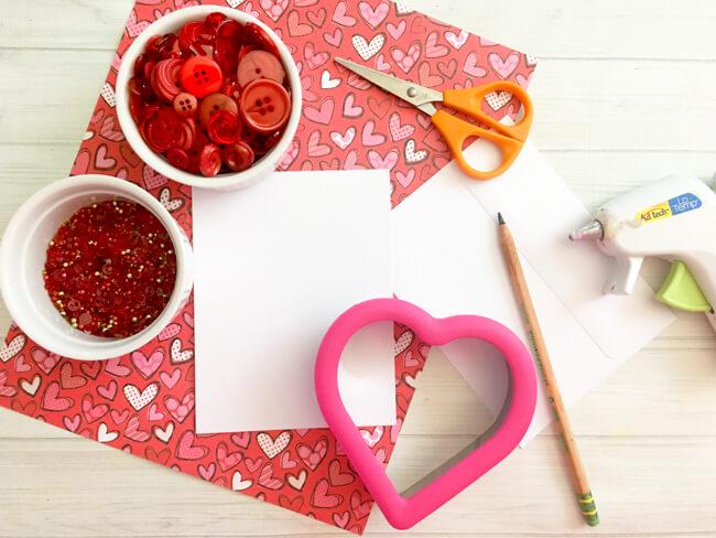 Supplies to make Heart Button Art Card