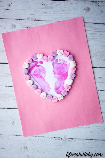 Footprint Heart Craft with Conversation Hearts